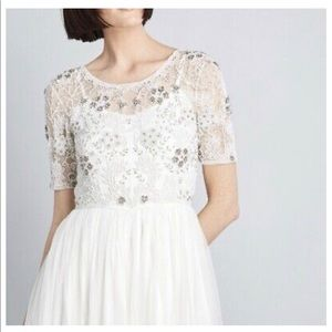 Modcloth Everlasting Romance ivory beaded gown NWT